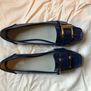Calvin Klein Blue Patent Leather Flats